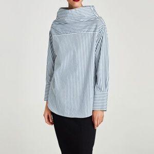New Zara Convertible Top Blue White Stripe Small S